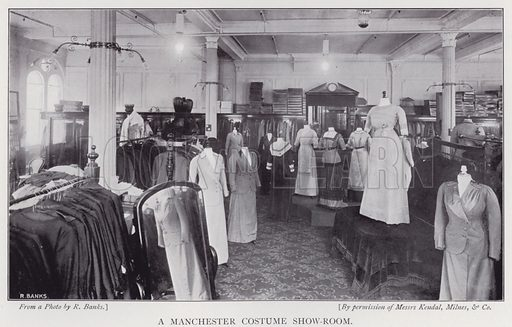 A Manchester costume show-room. Illustration for The Practical Retail Draper, A Complete Guide for the Drapery and Allied Trades, by Fred W Burgess (Virtue, c 1912).