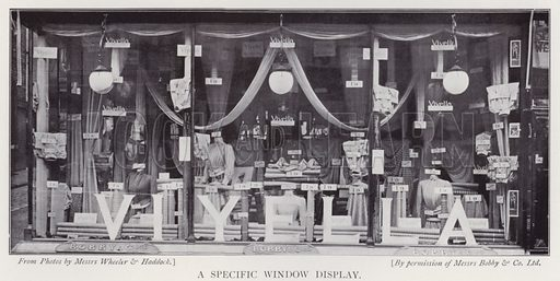 A specific window display. Illustration for The Practical Retail Draper, A Complete Guide for the Drapery and Allied Trades, by Fred W Burgess (Virtue, c 1912).