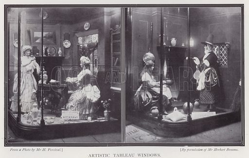 Artistic tableau windows. Illustration for The Practical Retail Draper, A Complete Guide for the Drapery and Allied Trades, by Fred W Burgess (Virtue, c 1912).