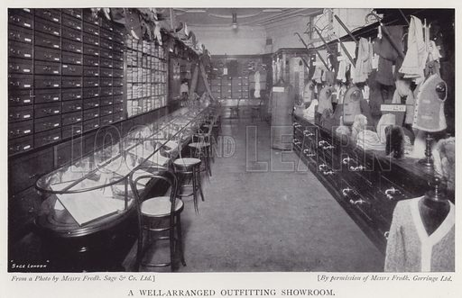 A well-arranged outfitting showroom. Illustration for The Practical Retail Draper, A Complete Guide for the Drapery and Allied Trades, by Fred W Burgess (Virtue, c 1912).