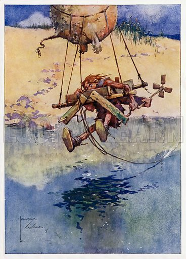 """Society Ballooning, """"You never know what you can do till you try."""" Illustration for Prehistoric Proverbs, A series of 12 watercolour drawings by Lawson Wood (Collier & Co, c 1907)."""