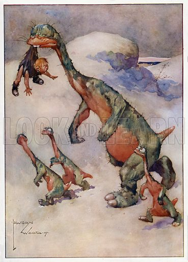 """Only a Hors-d'Oeuvre, """"Half a loaf is better than no bread."""" Illustration for Prehistoric Proverbs, A series of 12 watercolour drawings by Lawson Wood (Collier & Co, c 1907)."""