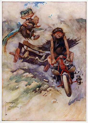 "Exceeding the Limit, ""A good thing is soon snapped up."" Illustration for Prehistoric Proverbs, A series of 12 watercolour drawings by Lawson Wood (Collier & Co, c 1907)."