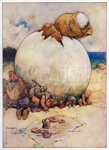 """Taking Cover, """"Never count your chickens before they are hatched."""" Illustration for Prehistoric Proverbs, A series of 12 watercolour drawings by Lawson Wood (Collier & Co, c 1907)."""