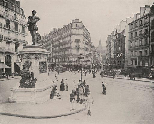 "Statue of Etienne Dolet. Illustration for Beautiful Paris with over 400 views taken by Mr A Pepper, Official Photographer of the French Government, with introduction by J W Buel (Arkell Weekly, 1894).  No further info found on ""Mr A Pepper""."