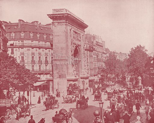 """St Denis Gate and Boulevard. Illustration for Beautiful Paris with over 400 views taken by Mr A Pepper, Official Photographer of the French Government, with introduction by J W Buel (Arkell Weekly, 1894).  No further info found on """"Mr A Pepper""""."""