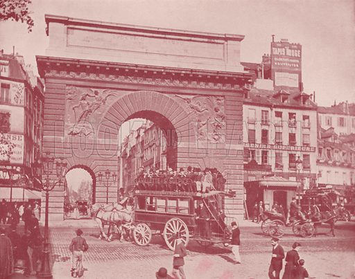 """The Porte St Martin. Illustration for Beautiful Paris with over 400 views taken by Mr A Pepper, Official Photographer of the French Government, with introduction by J W Buel (Arkell Weekly, 1894).  No further info found on """"Mr A Pepper""""."""