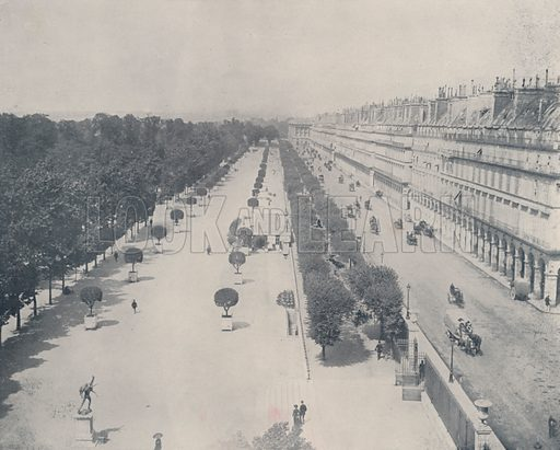 """Rue de Rivoli and Terrace of the Tuileries Garden. Illustration for Beautiful Paris with over 400 views taken by Mr A Pepper, Official Photographer of the French Government, with introduction by J W Buel (Arkell Weekly, 1894).  No further info found on """"Mr A Pepper""""."""