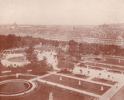 "Tuileries Garden and Rue de Rivoli. Illustration for Beautiful Paris with over 400 views taken by Mr A Pepper, Official Photographer of the French Government, with introduction by J W Buel (Arkell Weekly, 1894).  No further info found on ""Mr A Pepper""."
