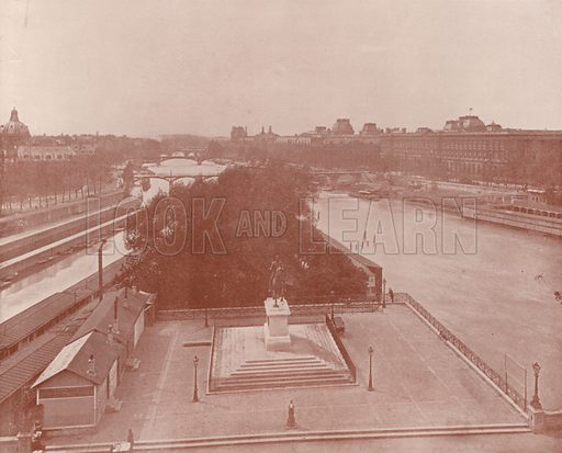 """View looking West from the Pont Neuf. Illustration for Beautiful Paris with over 400 views taken by Mr A Pepper, Official Photographer of the French Government, with introduction by J W Buel (Arkell Weekly, 1894).  No further info found on """"Mr A Pepper""""."""