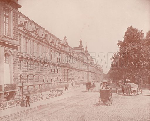 "Palace of the Louvre and Tuileries, South Side. Illustration for Beautiful Paris with over 400 views taken by Mr A Pepper, Official Photographer of the French Government, with introduction by J W Buel (Arkell Weekly, 1894).  No further info found on ""Mr A Pepper""."