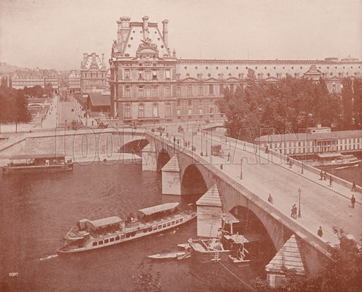"""The Pont Royal and Louvre. Illustration for Beautiful Paris with over 400 views taken by Mr A Pepper, Official Photographer of the French Government, with introduction by J W Buel (Arkell Weekly, 1894).  No further info found on """"Mr A Pepper""""."""