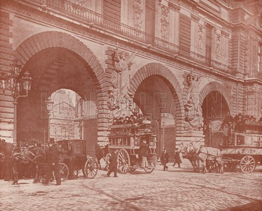 """Gateways to the Court of the Carrousel. Illustration for Beautiful Paris with over 400 views taken by Mr A Pepper, Official Photographer of the French Government, with introduction by J W Buel (Arkell Weekly, 1894).  No further info found on """"Mr A Pepper""""."""