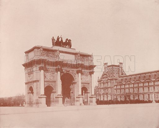 "Arch of the Carrousel. Illustration for Beautiful Paris with over 400 views taken by Mr A Pepper, Official Photographer of the French Government, with introduction by J W Buel (Arkell Weekly, 1894).  No further info found on ""Mr A Pepper""."