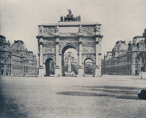 """Triumphal Arch of the Carrousel. Illustration for Beautiful Paris with over 400 views taken by Mr A Pepper, Official Photographer of the French Government, with introduction by J W Buel (Arkell Weekly, 1894).  No further info found on """"Mr A Pepper""""."""