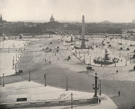 """A South View looking across the Place de la Concorde. Illustration for Beautiful Paris with over 400 views taken by Mr A Pepper, Official Photographer of the French Government, with introduction by J W Buel (Arkell Weekly, 1894).  No further info found on """"Mr A Pepper""""."""