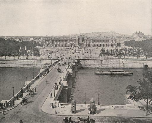 """A View of the Place de la Concorde, looking North. Illustration for Beautiful Paris with over 400 views taken by Mr A Pepper, Official Photographer of the French Government, with introduction by J W Buel (Arkell Weekly, 1894).  No further info found on """"Mr A Pepper""""."""