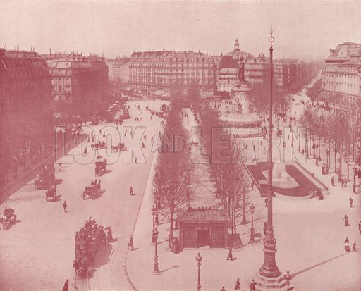 "Place de la Republique. Illustration for Beautiful Paris with over 400 views taken by Mr A Pepper, Official Photographer of the French Government, with introduction by J W Buel (Arkell Weekly, 1894).  No further info found on ""Mr A Pepper""."