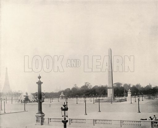 """Place de la Concorde. Illustration for Beautiful Paris with over 400 views taken by Mr A Pepper, Official Photographer of the French Government, with introduction by J W Buel (Arkell Weekly, 1894).  No further info found on """"Mr A Pepper""""."""