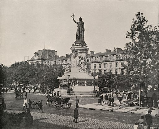 "Statue of the Republic. Illustration for Beautiful Paris with over 400 views taken by Mr A Pepper, Official Photographer of the French Government, with introduction by J W Buel (Arkell Weekly, 1894).  No further info found on ""Mr A Pepper""."