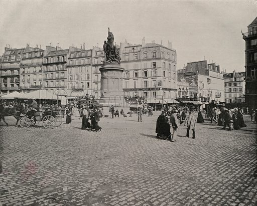 """Place de Clichy. Illustration for Beautiful Paris with over 400 views taken by Mr A Pepper, Official Photographer of the French Government, with introduction by J W Buel (Arkell Weekly, 1894).  No further info found on """"Mr A Pepper""""."""