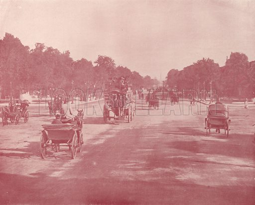 "Avenue Champs Elysees. Illustration for Beautiful Paris with over 400 views taken by Mr A Pepper, Official Photographer of the French Government, with introduction by J W Buel (Arkell Weekly, 1894).  No further info found on ""Mr A Pepper""."