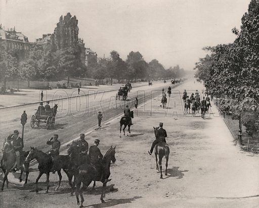 """Avenue of the Bois de Boulogne. Illustration for Beautiful Paris with over 400 views taken by Mr A Pepper, Official Photographer of the French Government, with introduction by J W Buel (Arkell Weekly, 1894).  No further info found on """"Mr A Pepper""""."""