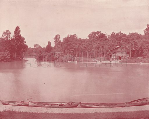 """Lake Inferior in the Bois de Boulogne. Illustration for Beautiful Paris with over 400 views taken by Mr A Pepper, Official Photographer of the French Government, with introduction by J W Buel (Arkell Weekly, 1894).  No further info found on """"Mr A Pepper""""."""