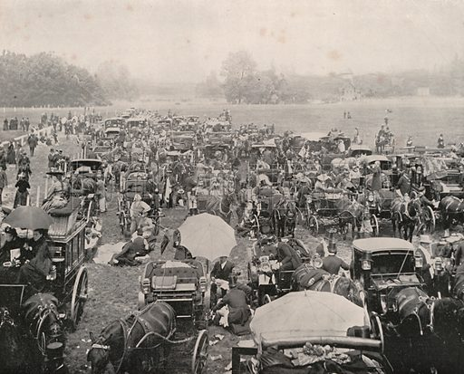 """The Bois de Boulogne on Derby Day. Illustration for Beautiful Paris with over 400 views taken by Mr A Pepper, Official Photographer of the French Government, with introduction by J W Buel (Arkell Weekly, 1894).  No further info found on """"Mr A Pepper""""."""