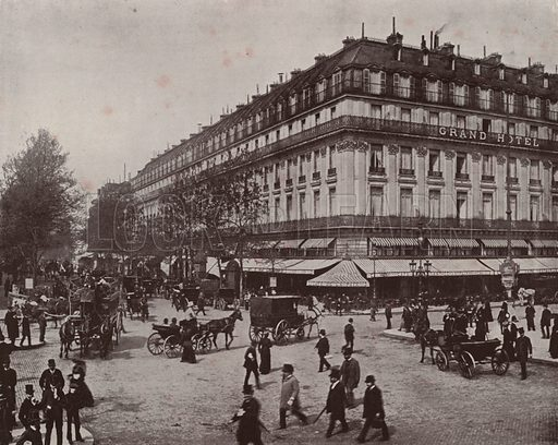 """The Grand Hotel and Cafe de la Paix. Illustration for Beautiful Paris with over 400 views taken by Mr A Pepper, Official Photographer of the French Government, with introduction by J W Buel (Arkell Weekly, 1894).  No further info found on """"Mr A Pepper""""."""