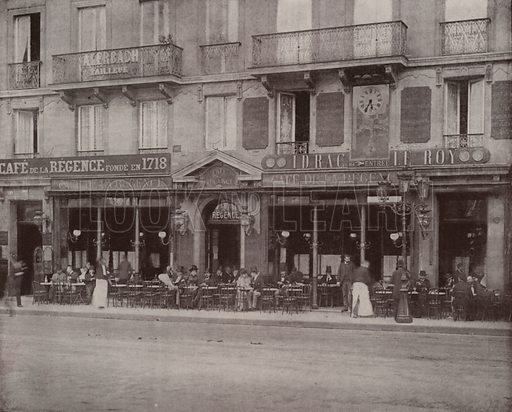 """Cafe de la Regence. Illustration for Beautiful Paris with over 400 views taken by Mr A Pepper, Official Photographer of the French Government, with introduction by J W Buel (Arkell Weekly, 1894).  No further info found on """"Mr A Pepper""""."""