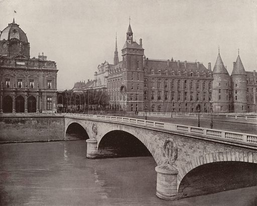 "Pont au Change, Chamber of Commerce, and Palace of Justice. Illustration for Beautiful Paris with over 400 views taken by Mr A Pepper, Official Photographer of the French Government, with introduction by J W Buel (Arkell Weekly, 1894).  No further info found on ""Mr A Pepper""."