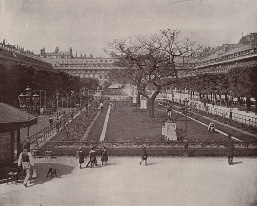 "Garden of the Palais Royal. Illustration for Beautiful Paris with over 400 views taken by Mr A Pepper, Official Photographer of the French Government, with introduction by J W Buel (Arkell Weekly, 1894).  No further info found on ""Mr A Pepper""."