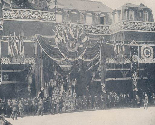 """The Remains of President Carnot Lying in State. Illustration for Beautiful Paris with over 400 views taken by Mr A Pepper, Official Photographer of the French Government, with introduction by J W Buel (Arkell Weekly, 1894).  No further info found on """"Mr A Pepper""""."""