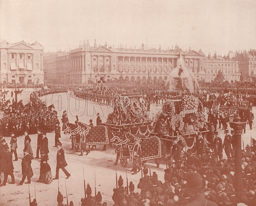 """The Assembling in the Place de la Concorde. Illustration for Beautiful Paris with over 400 views taken by Mr A Pepper, Official Photographer of the French Government, with introduction by J W Buel (Arkell Weekly, 1894).  No further info found on """"Mr A Pepper""""."""