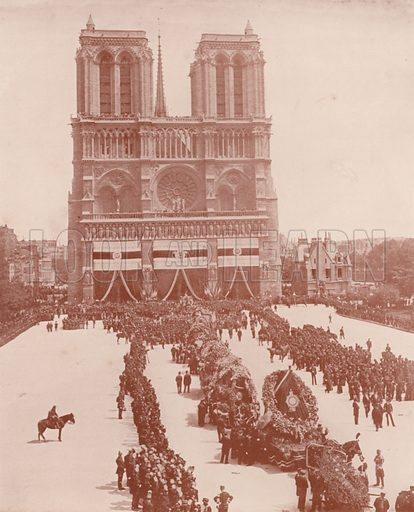 """Arrival of the Hearse at Notre Dame. Illustration for Beautiful Paris with over 400 views taken by Mr A Pepper, Official Photographer of the French Government, with introduction by J W Buel (Arkell Weekly, 1894).  No further info found on """"Mr A Pepper""""."""