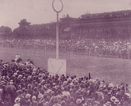 """Racing Day at Longchamps. Illustration for Beautiful Paris with over 400 views taken by Mr A Pepper, Official Photographer of the French Government, with introduction by J W Buel (Arkell Weekly, 1894).  No further info found on """"Mr A Pepper""""."""