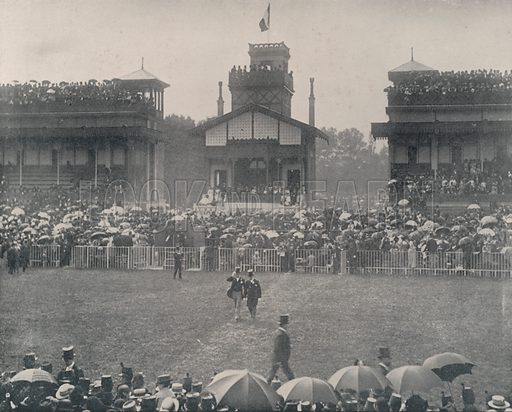 """Grandstand at the Longchamps Race-Course. Illustration for Beautiful Paris with over 400 views taken by Mr A Pepper, Official Photographer of the French Government, with introduction by J W Buel (Arkell Weekly, 1894).  No further info found on """"Mr A Pepper""""."""