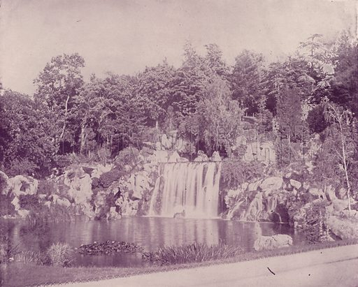"Grand Cascade in the Bois de Boulogne. Illustration for Beautiful Paris with over 400 views taken by Mr A Pepper, Official Photographer of the French Government, with introduction by J W Buel (Arkell Weekly, 1894).  No further info found on ""Mr A Pepper""."