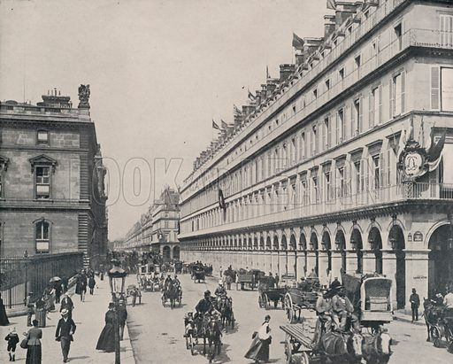 """The Rue de Rivoli. Illustration for Beautiful Paris with over 400 views taken by Mr A Pepper, Official Photographer of the French Government, with introduction by J W Buel (Arkell Weekly, 1894).  No further info found on """"Mr A Pepper""""."""