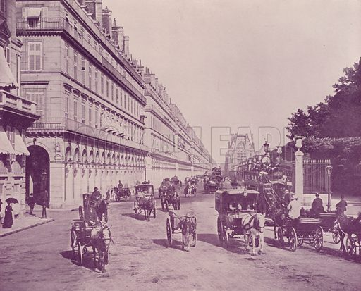 """Rue de Rivoli, looking East, from Place de la Concorde. Illustration for Beautiful Paris with over 400 views taken by Mr A Pepper, Official Photographer of the French Government, with introduction by J W Buel (Arkell Weekly, 1894).  No further info found on """"Mr A Pepper""""."""