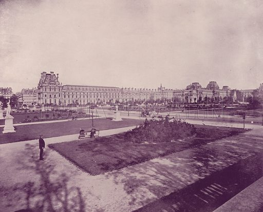 """Garden and Palace of the Tuileries and Louvre. Illustration for Beautiful Paris with over 400 views taken by Mr A Pepper, Official Photographer of the French Government, with introduction by J W Buel (Arkell Weekly, 1894).  No further info found on """"Mr A Pepper""""."""