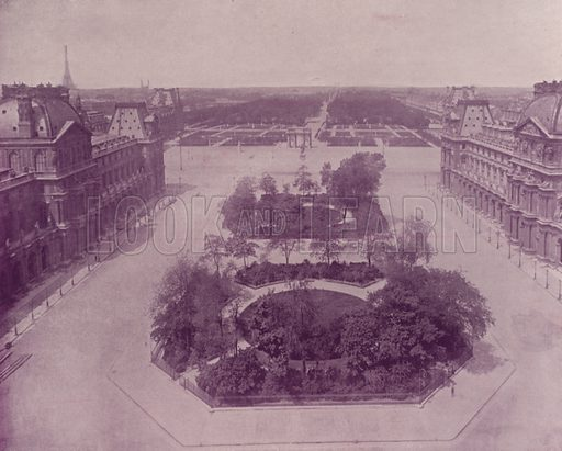 """Panoramic View West from the Louvre. Illustration for Beautiful Paris with over 400 views taken by Mr A Pepper, Official Photographer of the French Government, with introduction by J W Buel (Arkell Weekly, 1894).  No further info found on """"Mr A Pepper""""."""