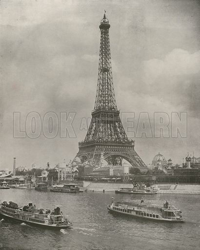 """Eiffel Tower, and Front of the Exposition Grounds. Illustration for Beautiful Paris with over 400 views taken by Mr A Pepper, Official Photographer of the French Government, with introduction by J W Buel (Arkell Weekly, 1894).  No further info found on """"Mr A Pepper""""."""
