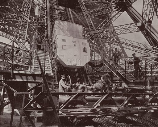 """Machinery and Lift of the Eiffel Tower. Illustration for Beautiful Paris with over 400 views taken by Mr A Pepper, Official Photographer of the French Government, with introduction by J W Buel (Arkell Weekly, 1894).  No further info found on """"Mr A Pepper""""."""