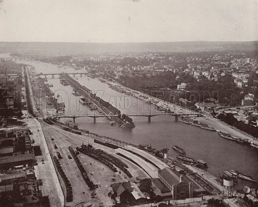 """View of the Seine, West, from Eiffel Tower. Illustration for Beautiful Paris with over 400 views taken by Mr A Pepper, Official Photographer of the French Government, with introduction by J W Buel (Arkell Weekly, 1894).  No further info found on """"Mr A Pepper""""."""