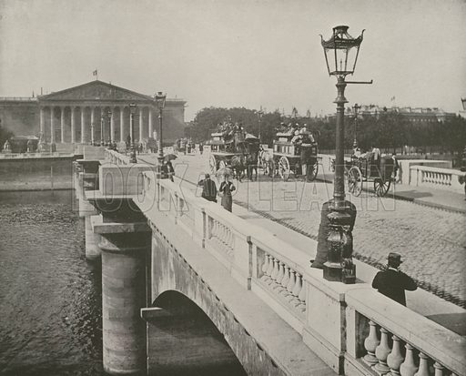 "Pont de la Concorde and Chamber of Deputies. Illustration for Beautiful Paris with over 400 views taken by Mr A Pepper, Official Photographer of the French Government, with introduction by J W Buel (Arkell Weekly, 1894).  No further info found on ""Mr A Pepper""."