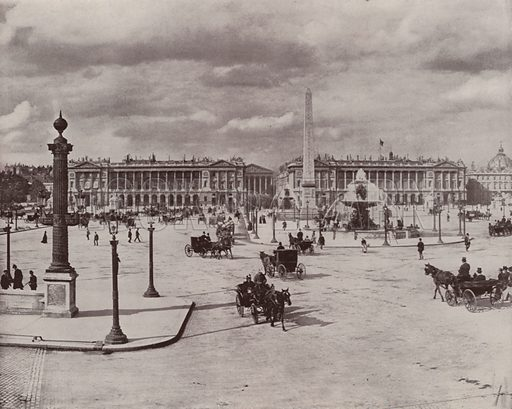 """View of the Place de la Concorde. Illustration for Beautiful Paris with over 400 views taken by Mr A Pepper, Official Photographer of the French Government, with introduction by J W Buel (Arkell Weekly, 1894).  No further info found on """"Mr A Pepper""""."""