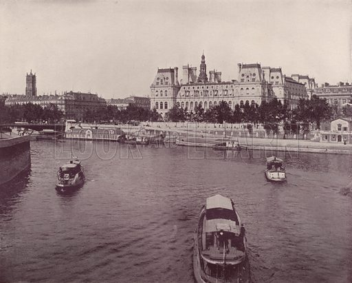 """Hotel de Ville, from the River Side. Illustration for Beautiful Paris with over 400 views taken by Mr A Pepper, Official Photographer of the French Government, with introduction by J W Buel (Arkell Weekly, 1894).  No further info found on """"Mr A Pepper""""."""
