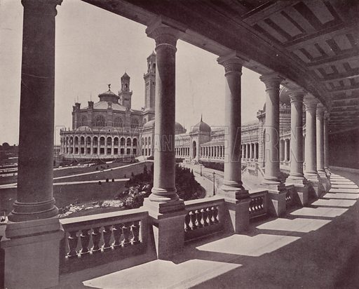 """Circular Gallery of the Trocadero Palace. Illustration for Beautiful Paris with over 400 views taken by Mr A Pepper, Official Photographer of the French Government, with introduction by J W Buel (Arkell Weekly, 1894).  No further info found on """"Mr A Pepper""""."""